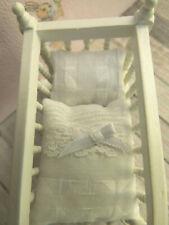 Neues Angebotwinzige.weiße BETTWÄSCHE,z.B.für wiege oder Baby-Bett 1:12 Puppenstube