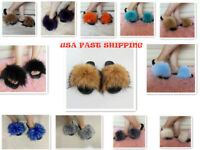 Women's Faux Fur Slides Fuzzy Slippers Fluffy Sandals Open Toe Indoor & Outdoor