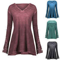 Womens Casual Long Sleeve Lace Crochet Panel Plus Outerwear Hoodie Blouse Tops