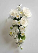 Formale Rose Spray Grandi Zucchero Bianco Fiori, cake topper, GUM pasta, pasta di zucchero