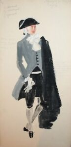 Vintage Man theatre costume design gouache painting signed