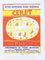 Pablo Picasso Ceramiques 1958 Vintage Poster Offset Lithograph 1964 PlateSigned