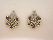 Amethyst and Blue Topaz Earring Enhancers