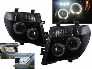 FRONTIRE NAVARA D40 05-10 LED Halo Projector Headlight Black for NISSAN RHD