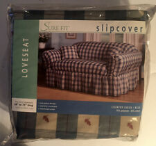 "Surefit Slipcover Loveseat Country Check Blue 58""-73"" Long New NIP Farmhouse"