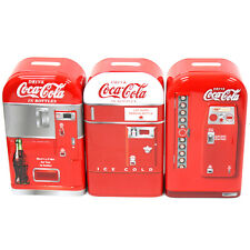 3pc Set Tin Box 1950s Coca-Cola Coke Vending Machine Tin Piggy Coin Banks