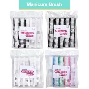Beauticom 10 pcs Manicure Nail Scrub Cleaning Brush with Handle Grip