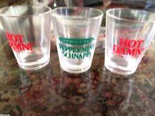 VINTAGE SHOT GLASS LOT OF 3 PEPPERMINT SCHNAPPS & HOT DAMN  BARWARE SHOTS  EUC