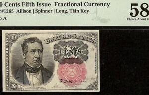 10 CENT FRACTIONAL NOTE CURRENCY PAPER MONEY LONG THIN KEY Fr 1265 PMG 58