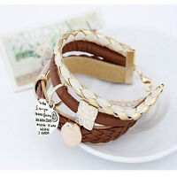 Hot Style Bracelet Jewelry Leather Infinity Charm Cuff Bangle Wrap Womens Gift