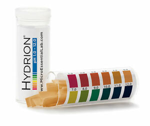 100 ct pH Hydrion Strips Test Tape Paper 165/ 1-12 Acid Alkaline Range 1.0-12.0