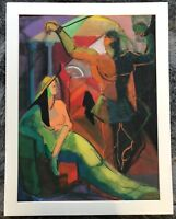 Vintage 40s Abstract Nude Figures Painting Art Wall Hanging Mid Century Modern