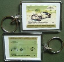 1968 EXCALIBUR Car Stamp Keyring (Auto 100 Automobile)