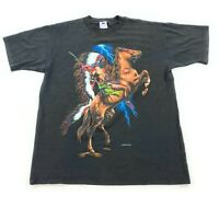 VTG HL Miller Native American Chief Horse Lighting Graphic T-Shirt Sz L USA