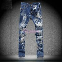 Mens Dragon printed Denim Jeans Floral Stretchy Long Pants Trouser Cool Chic New