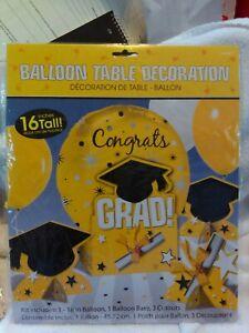 Balloon Table Decoration, Yellow & Black, Congrats Grad
