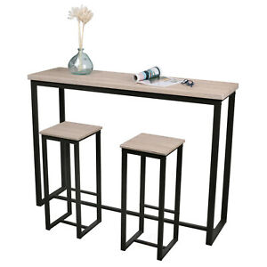 Wooden Top Bar Table With 2 High Stools Set Kitchen Breakfast Chairs Metal Frame