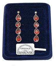Orecchini Goccia Lunga donna pl. oro Bianco 18K cristalli swarovski SW/11 rosso