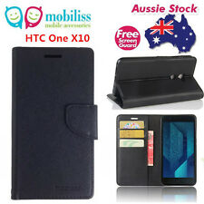 Mooncase Stand Wallet Case TPU In Cover For HTC One X10 Black Free Screen Guard