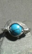 Handmade Natural Blue Turquoise Gemstone Silver Wire Wrapped Ring ANY SIZE