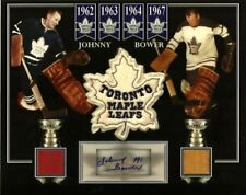 JOHNNY BOWER AUTO/SIGNED PHOTO GAME USED STICK & MAPLE LEAF GARDENS SEAT & PATCH