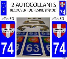 2 STICKER RECOUVERT DE RESINE PLAQUE IMMATRICULATION RHONE ALPES HAUTE SAVOIE 74