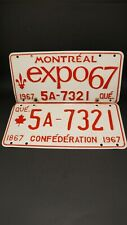 Pair of EXPO 67 Montreal Quebec Licence Plates - 5A-7321