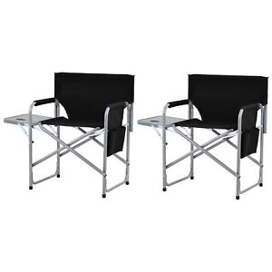 Set of 2 Folding Director Chair Camping Chair With Side Table Pockets Outdoor