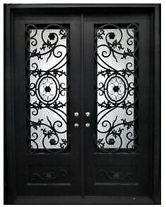 Straight Top Beautiful Wrought Iron Double Door