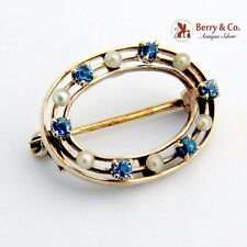 Vintage Oval Brooch 14 K Gold Seed Pearls Sapphires