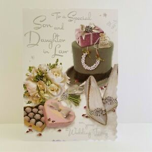 Jonny Javelin Son And Daughter In Law Wedding Day Card Top Flowers Presents/V116