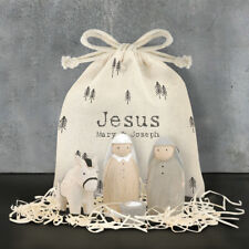 Hand Made Wooden Jesus Bag Set Mary & Joseph Figures By East of India Xmas New