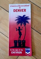 "Vintage Chevron Road Map ""Come to Chevron Island"" in DENVER c-1960's L@@K"