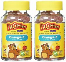 L'il Critters Omega-3 DHA, 60 Count Pack of 2 (120 pieces total) Lil Critters