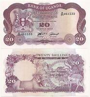 UGANDA 20 SHILLINGS P-3 UNC ND(1966) PREFIX A/24 WILD LIFE ON BACK