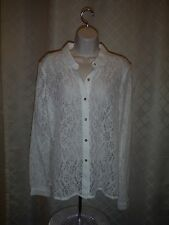 Women's Long Sleeve Full Button down Blouse size LG LC Lauren Conrad Ivory Frost