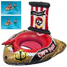 Pirate Ship Swimming Pool Raft Inflatable Ride On Summer Water Play Fun Kids Toy