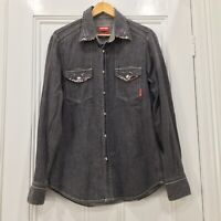 RM Williams Shirt Mens Large Grey Denim Western Style Slim  Fit  Long Sleeve