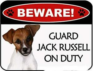 Beware Jack Russell On Duty Laminated Dog Sign SP3116