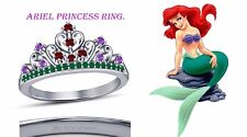 Round Cut Multi-Stone 14K White Gold Plated Ariel Disney Princess Crown Ring