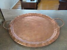 Vintage Hand Wrought Hammered Solid Copper Tray Charger Copper Handles