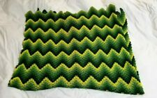 Vintage Hand Knitted  Acrylic Afghan Chevron Pattern Throw Blanket 32 x 59