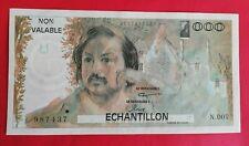Billet échantillon Honoré de Balzac, neuf, 1000 Francs
