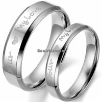 "Silver Stainless Steel "" Your ❤ My Love "" Engagement Ring Anniversary Band"