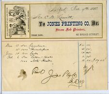 Bill of Sale from Jones Printing Co. 42 Broad Street New York City February 1883
