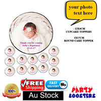 🏅13x Set of Edible cake cupcake toppers Personalised photo wafer birthday gifts