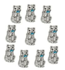 10pc Kitty Cat Pet Blue Collar Floating Charm For Glass Custom Memory Locket