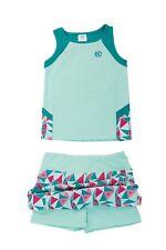 2 Piece Girls Set Sleeveless Tank Top & Skirt with Built-in Shorts Aqua SMALL S