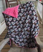 Large Sugar Skull and Hot Pink Rosebud Minky Blanket MINKY CHOICE