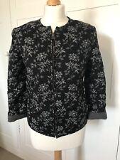 Hobbs Black & White Fully Reversible Cotton Print Jacket Stripes & Floral UK 8